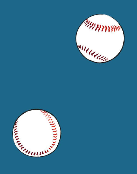 Baseball Toss Wallpaper - Cadet Blue - Wallshoppe