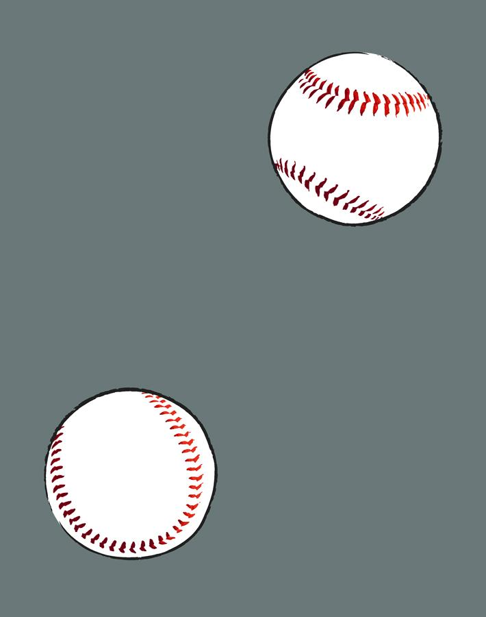 Baseball Toss Wallpaper - Dark Grey - Wallshoppe