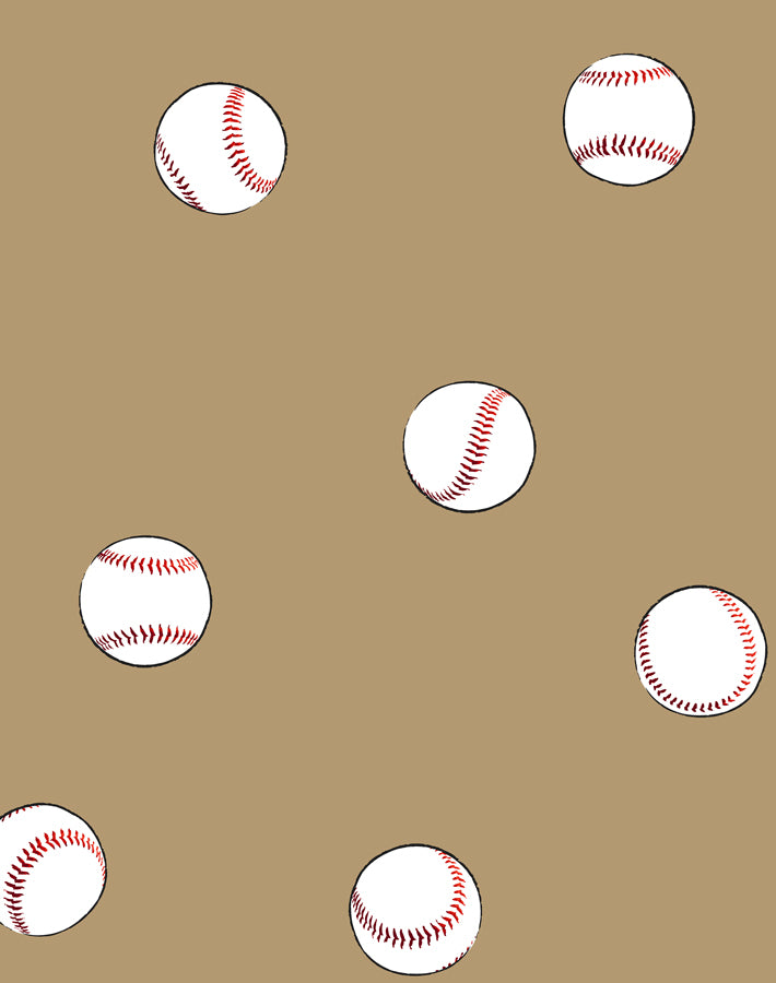 Baseball Toss Wallpaper - Leather - Wallshoppe