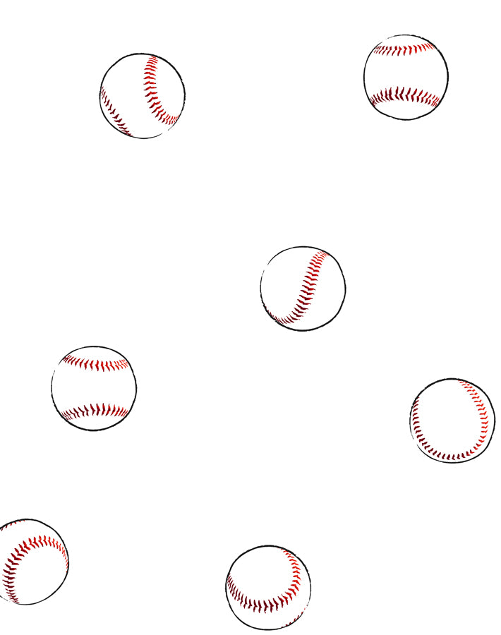 Baseball Toss Wallpaper - White - Wallshoppe