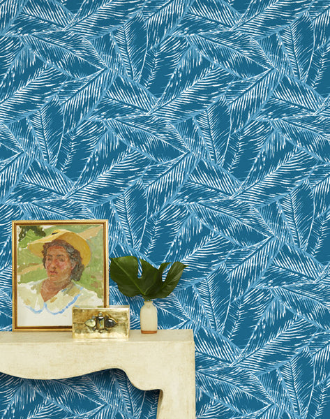 Best Fronds Removable Wallpaper - Cadet Blue - Wallshoppe