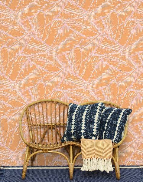 Best Fronds Removable Wallpaper - Creamsicle - Wallshoppe