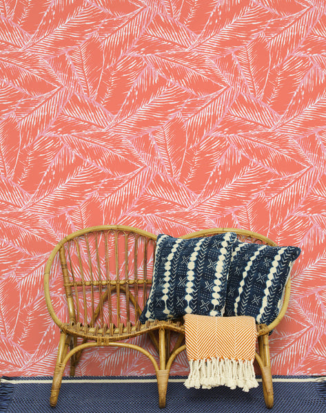 Best Fronds Removable Wallpaper - Retro Red