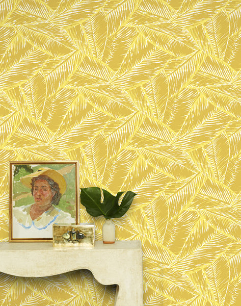 Best Fronds Removable Wallpaper - Yellow
