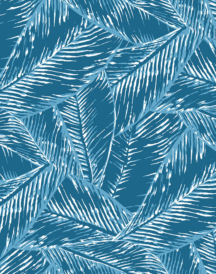 Best Fronds Wallpaper - Cadet Blue - Wallshoppe