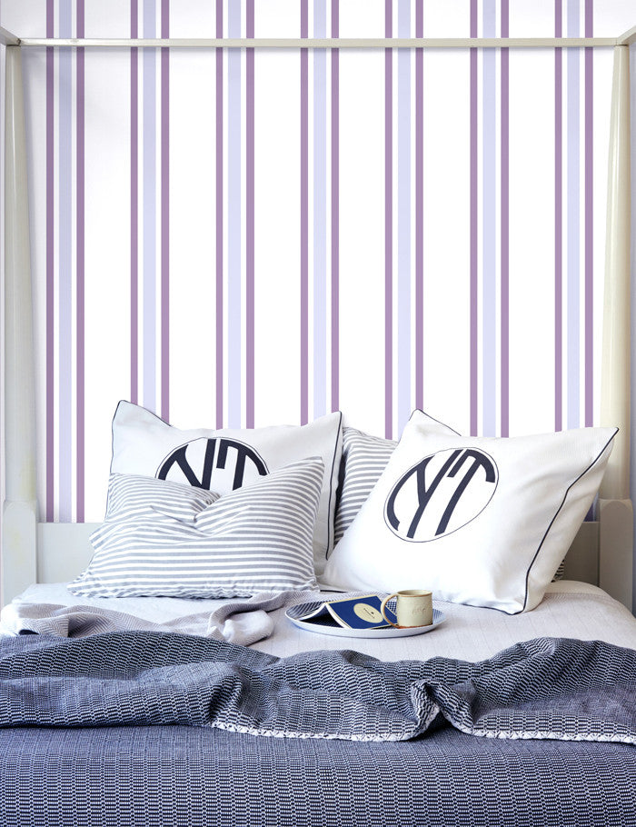 Striped Removable Wallpaper Panel Plum