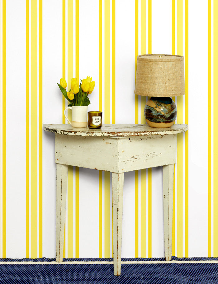 Striped Removable Wallpaper Panel Yellow