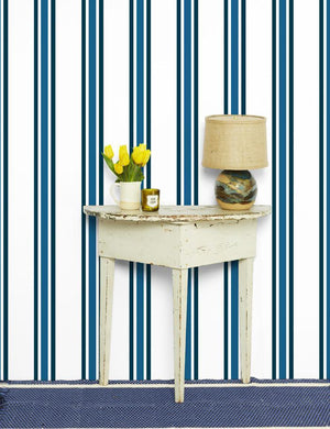 Between The Lines Cadet Blue Indigo  Wallpaper