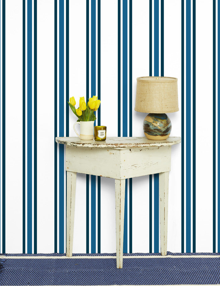Striped Removable Wallpaper Panel Blue
