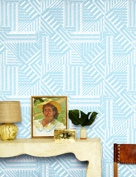 Bloc - elephant light blue - removable wallpaper panel - Wallshoppe