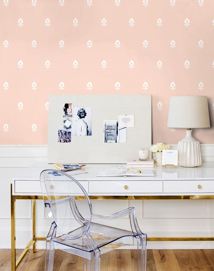 Block Print Removable Wallpaper - Pink - Wallshoppe