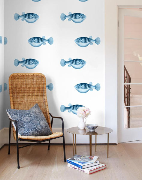 Blowfish Removable Wallpaper - Blue - Wallshoppe