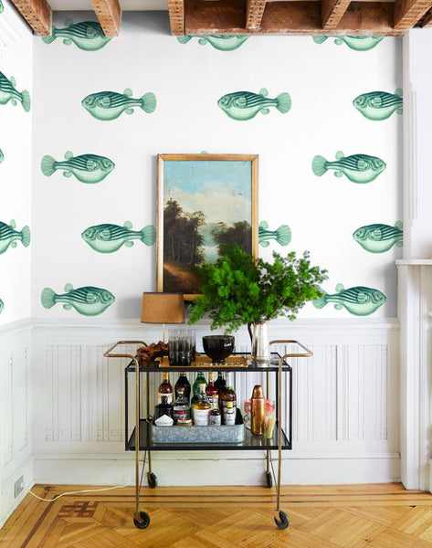 Blowfish Removable Wallpaper - Green - Wallshoppe