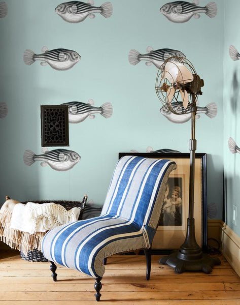 Blowfish Removable Wallpaper - Seafoam - Wallshoppe