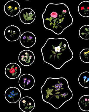 BouvierÕs Botanical - Black Wallpaper by Carly Beck - Wallshoppe Removable & Traditional Wallpaper