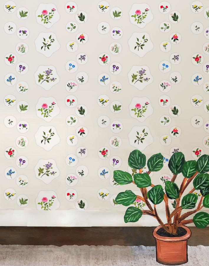 Bouvier's Botanical - Cream Wallpaper by Carly Beck - Wallshoppe Removable & Traditional Wallpaper