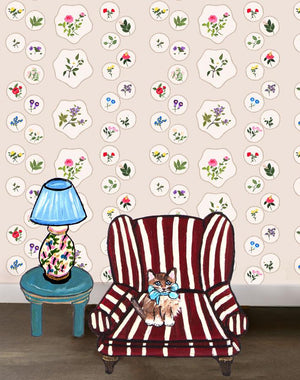 Bouvier's Botanical - Neutral Wallpaper by Carly Beck - Wallshoppe Removable & Traditional Wallpaper