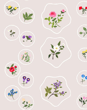 Bouvier's Botanical - Oyster Wallpaper by Carly Beck - Wallshoppe Removable & Traditional Wallpaper