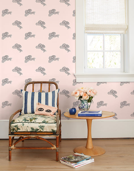 Bows Removable Wallpaper - Charcoal Shell - Wallshoppe