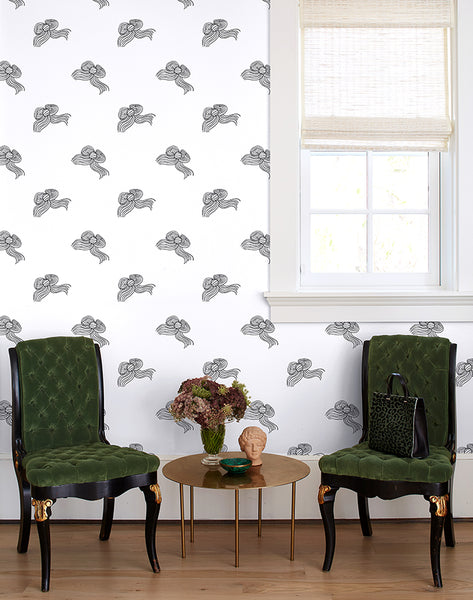 Bows Wallpaper - Onyx - Wallshoppe
