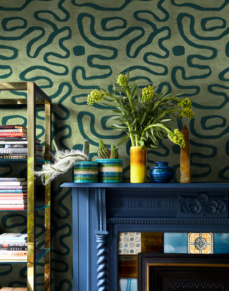 Buka Patchwork Removable Wallpaper - Green - Wallshoppe