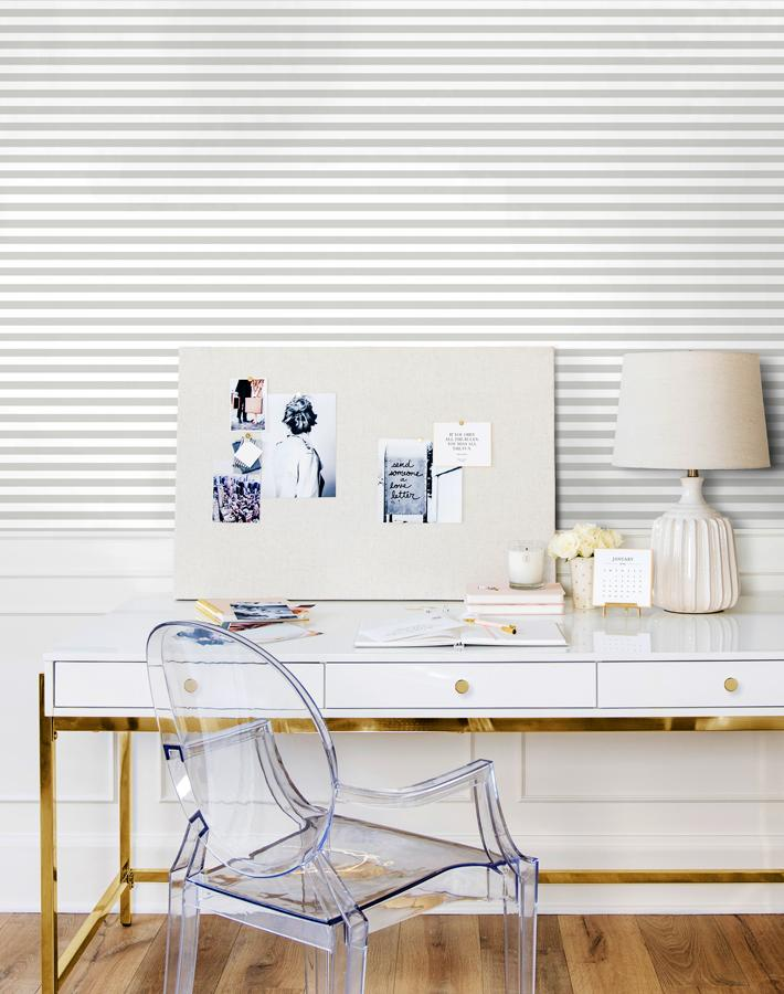 Cabana Stripe Removable Wallpaper - Grey - Wallshoppe