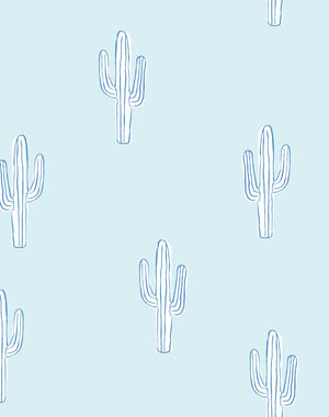 Cactus Pale Blue  Wallpaper