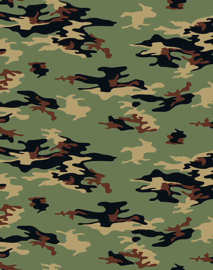 Camo Removable Wallpaper - Green - Wallshoppe