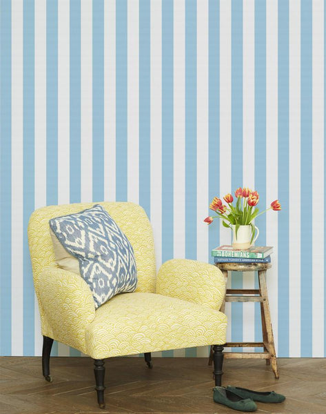 Candy Stripe Wallpaper - Baby Blue - Wallshoppe