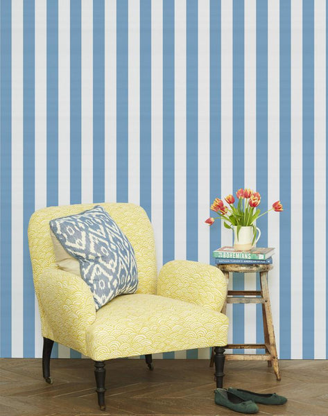 Candy Stripe Wallpaper - Cornflower - Wallshoppe