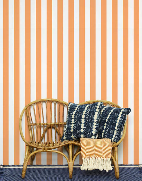 Candy Stripe Wallpaper - Creamsicle - Wallshoppe