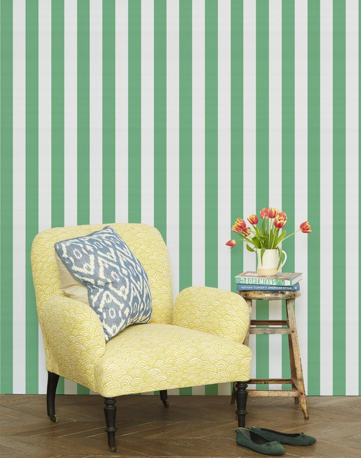 Candy Stripe Wallpaper - Green - Wallshoppe