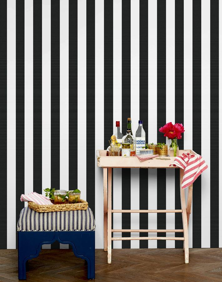 Candy Stripe Wallpaper Roll - Onyx [SALE]