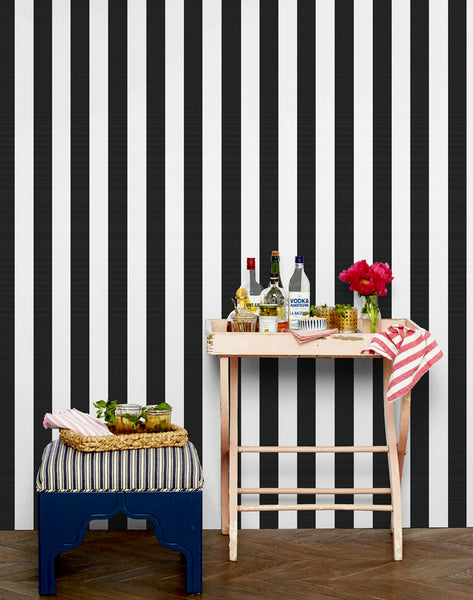 Candy Stripe Removable Wallpaper - Onyx - Wallshoppe