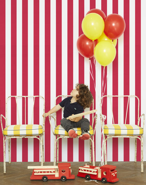 Candy Stripe Removable Wallpaper - Red - Wallshoppe