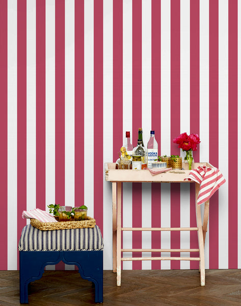 Candy Stripe Removable Wallpaper - Rose - Wallshoppe