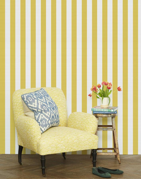 Candy Stripe Wallpaper - Yellow - Wallshoppe