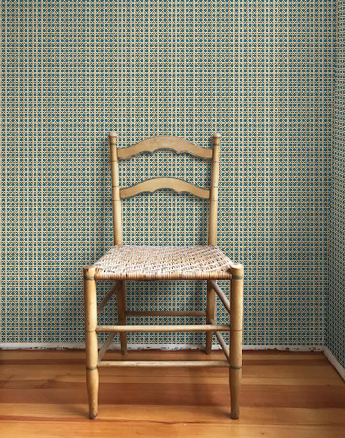 Caning Removable Wallpaper - Cadet Blue - Wallshoppe