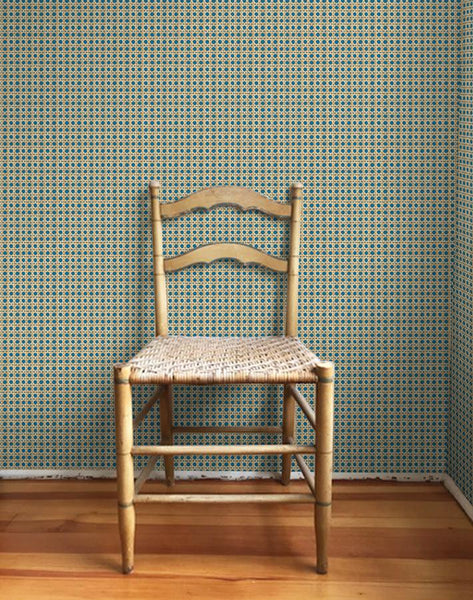 Caning Wallpaper - Cadet Blue - Wallshoppe
