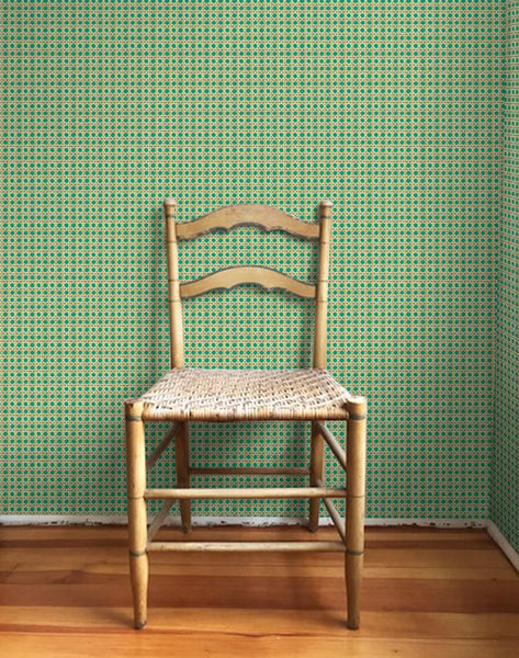 Caning Removable Wallpaper - Emerald - Wallshoppe