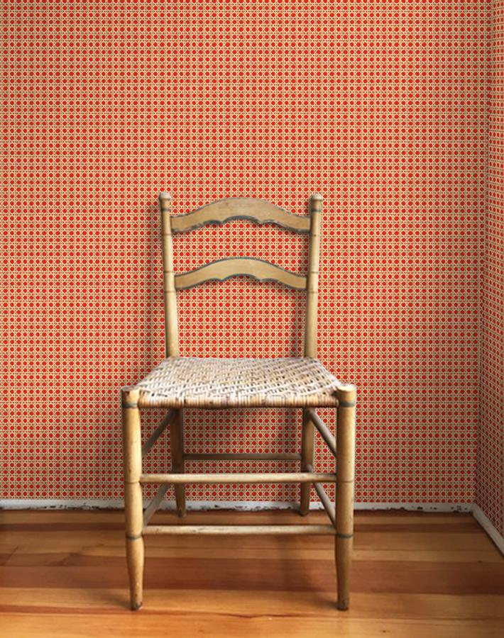 Caning Wallpaper - Red - Wallshoppe