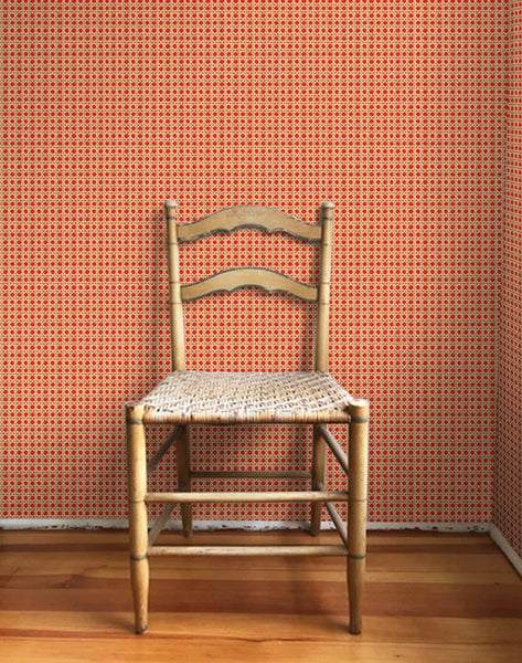 Caning Removable Wallpaper - Red - Wallshoppe