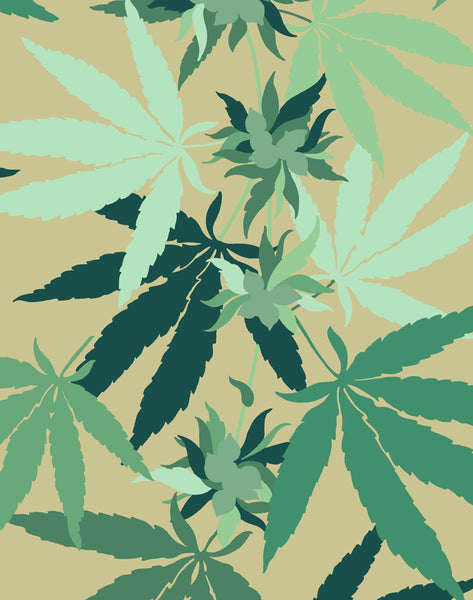Cannabis Removable Wallpaper - Bamboo - Wallshoppe