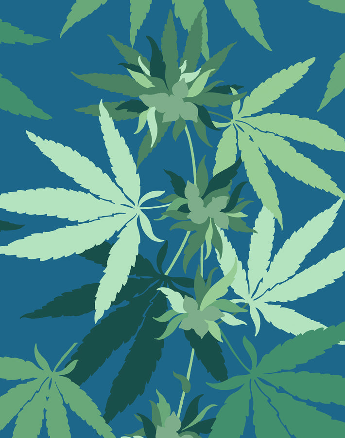 Cannabis Wallpaper - Cadet Blue - Wallshoppe