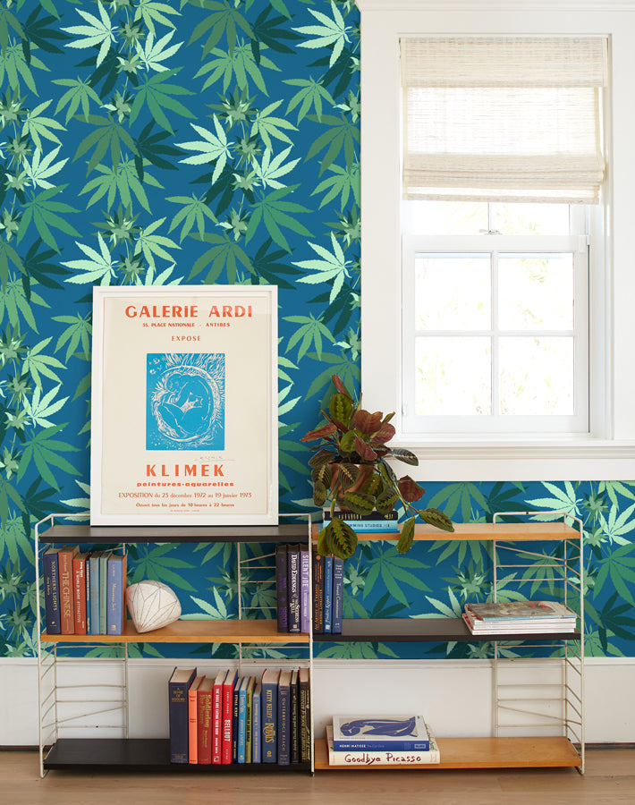 Cannabis Removable Wallpaper - Cadet Blue - Wallshoppe