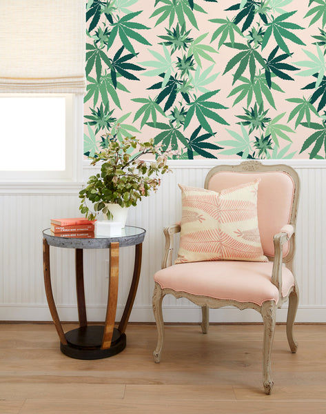 Cannabis Wallpaper - Peach - Wallshoppe