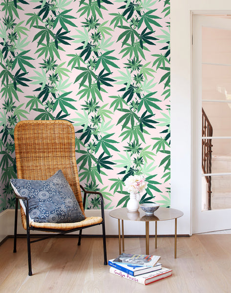 Cannabis Wallpaper - Pink - Wallshoppe