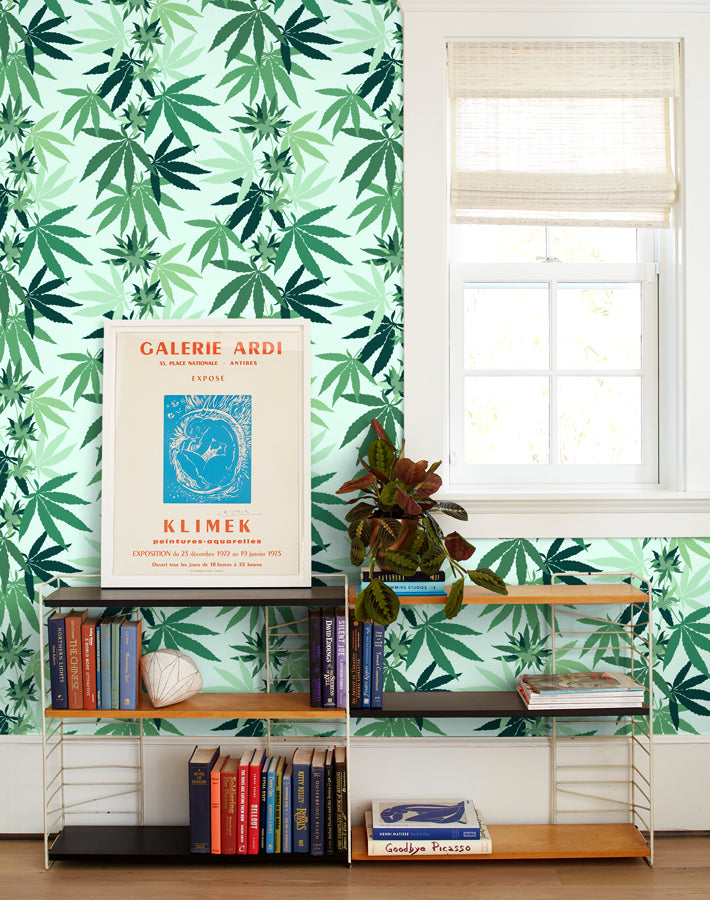 Cannabis Wallpaper - Robin's Egg - Wallshoppe