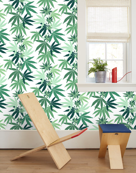 Cannabis Wallpaper - White - Wallshoppe