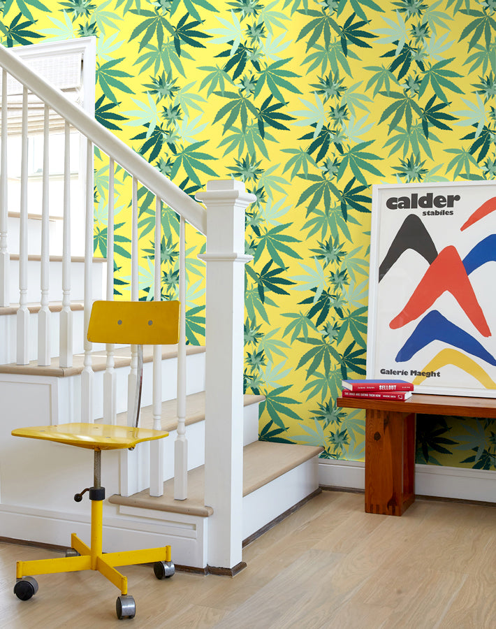 Cannabis Removable Wallpaper - Daffodil - Wallshoppe